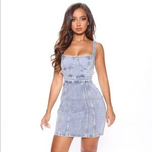 Fashion Nova Blue Denim Backless Mini Dress
